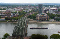 Aerial view of Cologne from the viewpoint of Cologne Cathedral. COLOGNE, GERMANY - SEP 17, 2015: Aerial view of Cologne from the viewpoint of Cologne Cathedral Royalty Free Stock Images