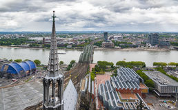 Aerial view of Cologne from the viewpoint of Cologne Cathedral. stock images