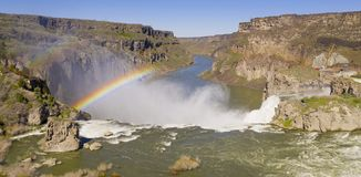 Aerial View Color Rendering Shoshone Falls Idaho Generating Rainbow royalty free stock photo
