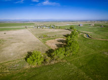Aerial view of Colorado countryside. Aerial view over eastern plains of rural Colorado, USA on sunny day Royalty Free Stock Image