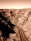 Aerial view of the Colorado River in sepia tone. A birds-eye view of the Colorado River in sepia tone Royalty Free Stock Photo