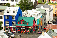 Aerial view at colorful architecture, downtown of Reykjavik Stock Images