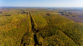 Aerial view of the colorful autumn forest and blue sky. Aerial view royalty free stock photo