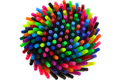Aerial View of Colorful felt-tip pens. A large, bright and colorful array of felt-tip pens is seen from above royalty free stock images