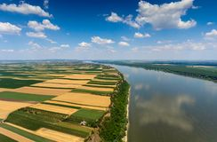 Aerial view of fields on bank of Danube Stock Photography