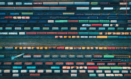 Aerial view of colorful freight trains