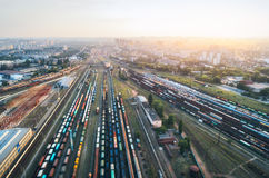 Aerial view of colorful freight trains. Railway station Stock Photography
