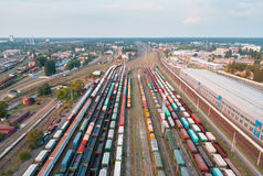 Aerial view of colorful freight trains. Railway station Stock Image