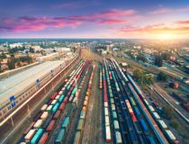 Aerial view of colorful freight trains. Railway station Stock Photo