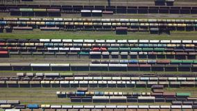 Aerial view of colorful freight wagons stock video