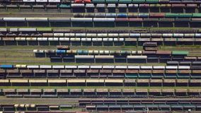 Aerial view of colorful freight wagons stock video footage
