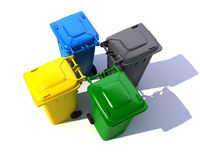 Aerial view of colorful garbage bins royalty free illustration