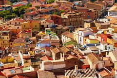 Aerial view of colorful houses in Bosa, Sardinia, Italy Stock Photo