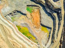 Aerial view of colorful, open pit mine. Aerial view of huge, modern open pit mine in Minas de Riotinto, Andalusia, Spain Stock Images