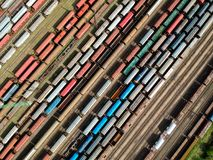 Aerial view of trains. Aerial view of colorful trains on a station royalty free stock photos