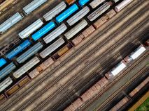 Aerial view of trains royalty free stock images