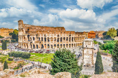 Aerial view of the Colosseum and Arch of Constantine, Rome. Italy Stock Photography