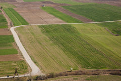 Aerial view on colourful fields - Serbia. Royalty Free Stock Photos