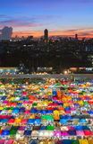 Aerial view, colours full city night market stock image