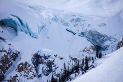 Aerial view of the Columbia Icefield in the Canadian Rocky Mount. Ains, British Columbia, Canada stock photos