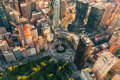 Aerial view of Columbus Circle in NYC. Aerial view of Columbus Circle in New York City at sunset Royalty Free Stock Photos