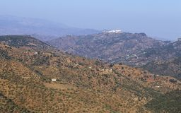 Aerial view of Comares, white village of Malaga mountains, Spain Stock Photography