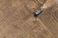Aerial view of combine on the harvest field Stock Images