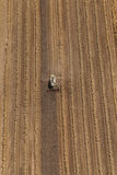 Aerial view of combine on the harvest field Stock Photo