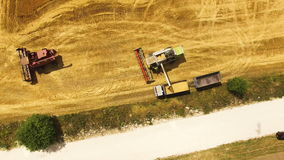 Aerial view of combine harvester harvesting wheat and bulk on truck n field, 4k. Aerial view of a combine harvester harvesting wheat iand bulk on truck n field stock video