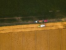 Aerial view of combine harvester unloading harvested wheat Stock Photography