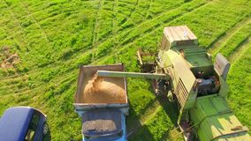 AERIAL VIEW. Combine Harvester Unloading Wheat Grain Into The Tractor Trailer. stock footage
