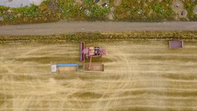 Aerial view combine harvester unloads grain in the truck harvesting wheat on agricultural land. Combine unloads grain in stock video footage
