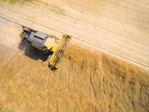 Aerial view of combine harvester. Stock Images