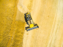 Aerial view of combine harvester. Stock Image