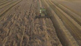 Aerial view combine harvesting a field of wheat. stock video footage