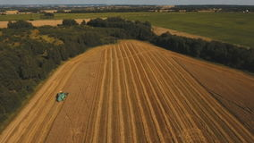 Aerial view combine harvesting a field of wheat. Two combine harvester on a wheat field at harvest.Aerial view of agricultural land with harvester.Combine stock footage