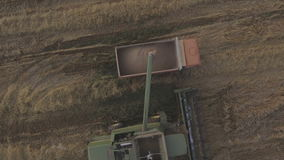 Aerial view combine unloads grain in the truck. Aerial view combine harvester unloads grain in the truck harvesting wheat on agricultural land.Combine unloads stock video