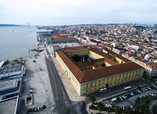 Aerial View of Commerce Square, Lisbon, Portugal.  Royalty Free Stock Images