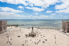 Aerial view of commerce square - Praca do commercio in Lisbon - Royalty Free Stock Images
