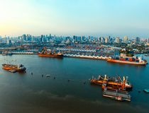Aerial view of commercial ship and container dock  in chaopraya Royalty Free Stock Photography