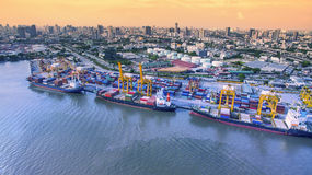 Aerial view of commercial shipping port important import export Stock Image