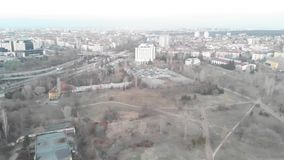 Aerial view of communist buildings in the city of Sofia, Bulgaria. Old buildings in a capital city of the balkans. East Soviet Str. Eets in the urban evening stock footage