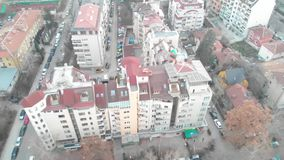 Aerial view of communist buildings in the city of Sofia, Bulgaria. Old buildings in a capital city of the balkans. East Soviet Str. Eets in the urban evening stock video footage