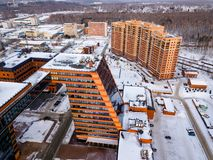 Aerial view of the community center and staff apartment building of academpark technopark of the Novosibirsk Academic Township - royalty free stock photography