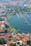 Aerial view at the Como harbor, Como Lake Royalty Free Stock Image