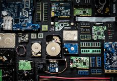 Aerial view of computer electronics componets parts flatlay````````. Aerial view of computer electronics components parts flat lay Stock Photo