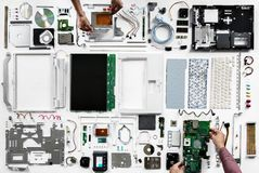 An aerial view of computer parts on white background Royalty Free Stock Photos