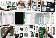 An aerial view of computer parts on white background Stock Photo