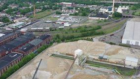 Aerial View of Concrete Batching Plant Camden New Jersey Waterfront.  stock video footage