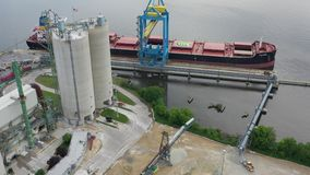 Aerial View of Concrete Batching Plant Camden New Jersey Waterfront.  stock video